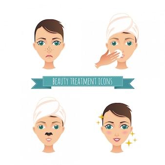 Ilustracja Zabiegów Kosmetycznych, Leczenie Trądziku, Czyszczenie Twarzy, Maska Premium Wektorów