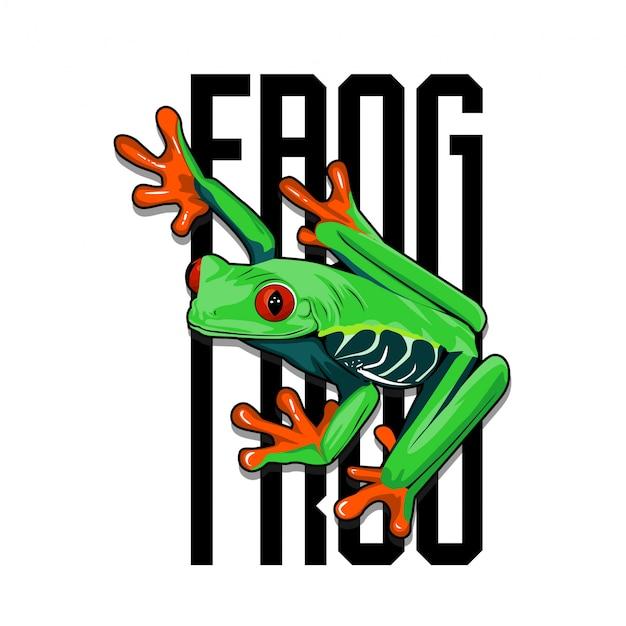 Ilustracja żaby czerwonookiej