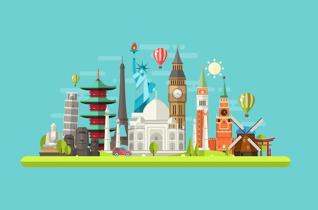 Ilustracja zabytków na całym świecie