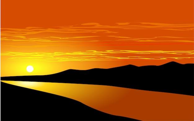Ilustracja zachód słońca rzeki