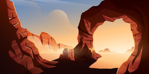 Ilustracja zachodu słońca z pagórkowatymi skałami na pustyni
