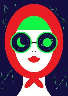 Ilustracja zakapturzonej postaci kobiecej w okularach
