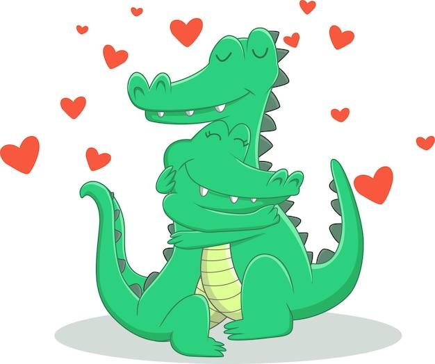 Ilustracja zakochanej pary krokodyla
