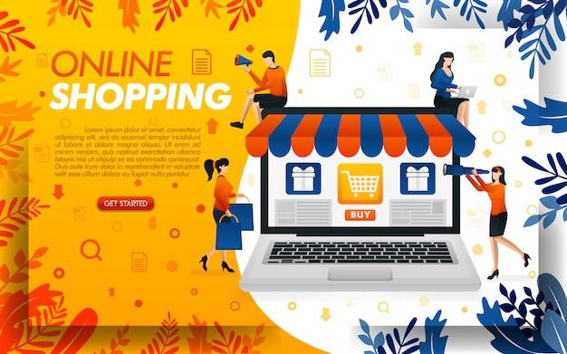 Ilustracja zakupów online z gigantycznymi laptopami i ludźmi na zakupy