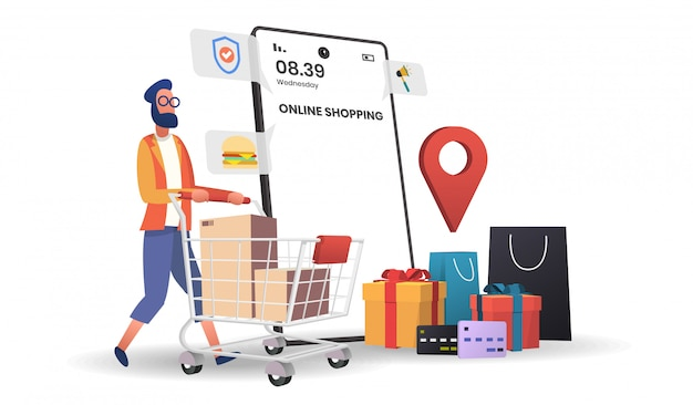 Ilustracja Zakupów Online Premium Wektorów