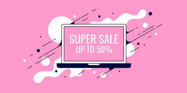 Ilustracja zakupu towarów za pośrednictwem internetowego banera sprzedaży