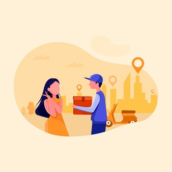 Ilustracja zakupy dostawy