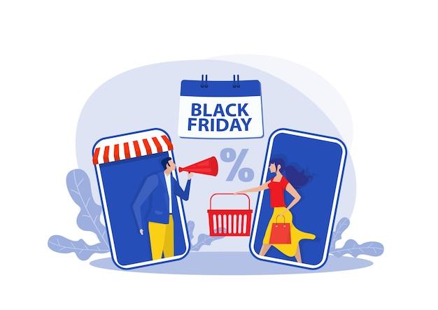 Ilustracja zakupy w czarny piątek