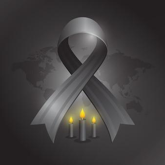 Ilustracja żałoby dla ofiar z czarną wstążką