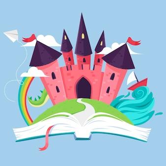 Ilustracja zamek bajki wewnątrz książki