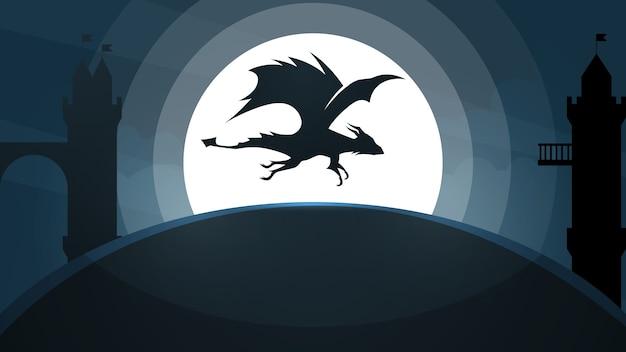 Ilustracja zamek smoka