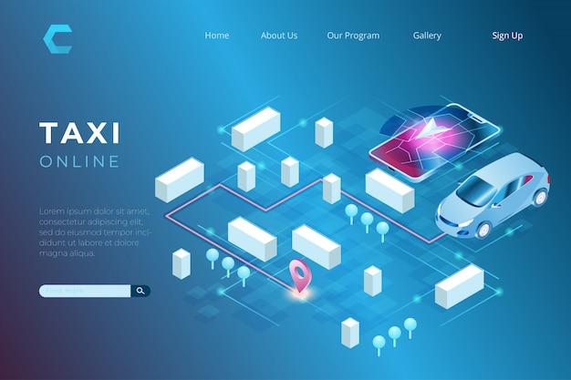 Ilustracja zamówień taksówek online za pośrednictwem smartfonów i technologii cyfrowej nawigacji w izometrycznym stylu 3d