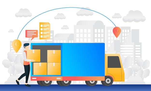 Ilustracja zamówienia dostawy w nowoczesnym stylu mieszkania