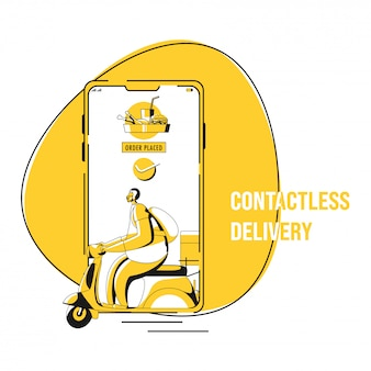 Ilustracja zamówienia zatwierdzenia złożonego w smartfonie ze skuterem chłopca kurierskiego na dostawę zbliżeniową podczas koronawirusa.