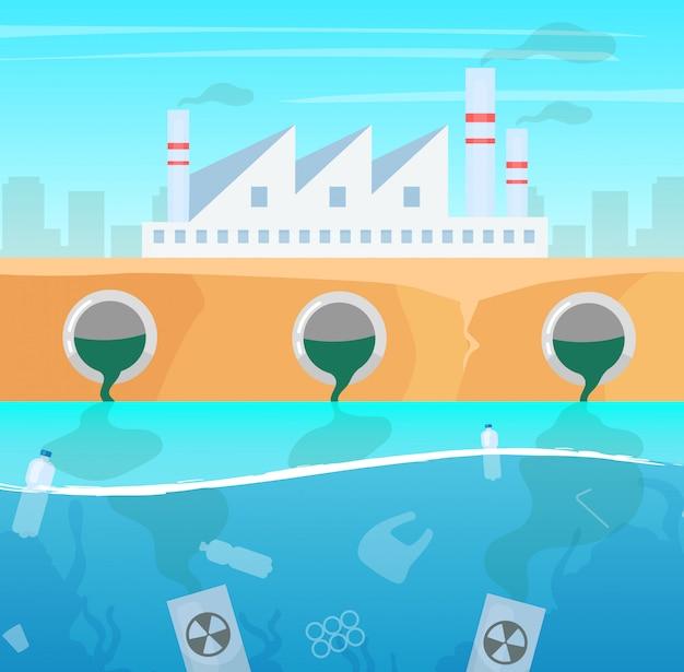 Ilustracja zanieczyszczenia wody i powietrza. wytwarzanie szkód spowodowanych przez przemysł. katastrofa ekologiczna. plastikowe śmieci w oceanie. zanieczyszczenie morza toksyczne zanieczyszczenia fabryki przemysłowej
