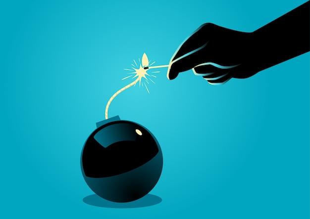 Ilustracja zapala bombę z dopasowaniem ręka