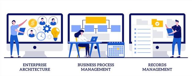 Ilustracja zarządzania architekturą przedsiębiorstwa, procesami biznesowymi i rekordami z udziałem małych ludzi