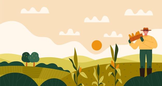 Ilustracja zawód rolnictwa ekologicznego płaskiego