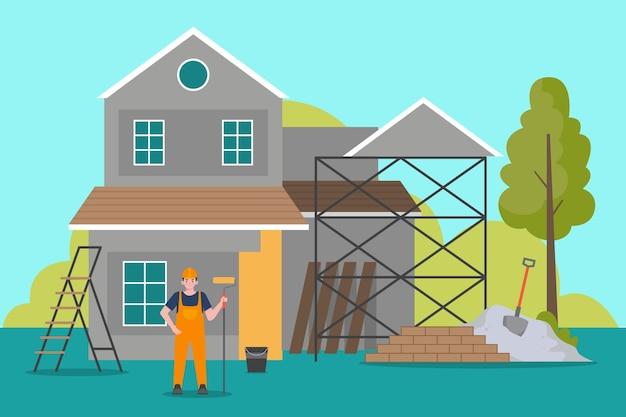 Ilustracja zawodów gospodarstwa domowego i renowacji