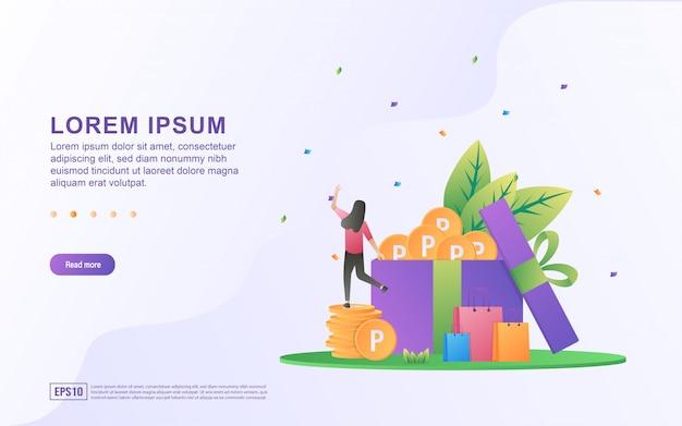 Ilustracja zbierać punkty i e handel z prezenta pudełkiem i zakupy punktu ikonami