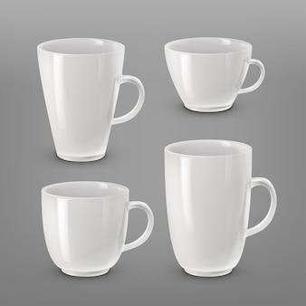 Ilustracja zbiór różnych białych filiżanek i kubków do kawy lub herbaty na białym tle