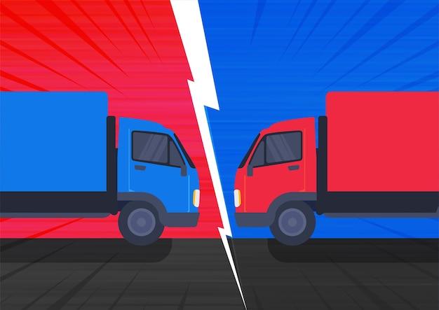 Ilustracja zderzenia dwóch ciężarówek z dużą prędkością na drodze.