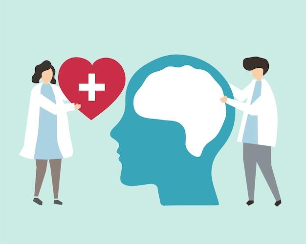 Ilustracja zdrowia psychicznego i zaburzeń