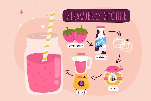 Ilustracja zdrowy truskawkowy smoothie przepis