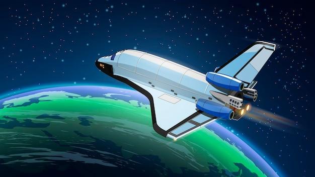 Ilustracja ze statkiem kosmicznym, prom kosmiczny w przestrzeni z ziemią. program historii kosmosu, ludzka eksploracja bliskiej przestrzeni.