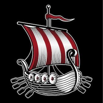 Ilustracja ze statkiem wikingów. na ciemnym tle.