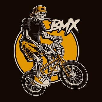 Ilustracja ze szkieletem skacze na rowerze bmx. warstwowo