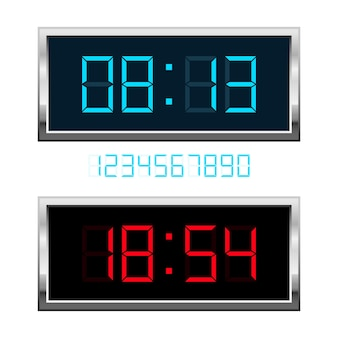 Ilustracja zegar cyfrowy na białym tle