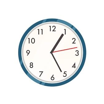 Ilustracja zegar ścienny. współczesny zegarek, element wystroju wnętrz