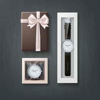 Ilustracja zegarków zestaw upominkowy dla mężczyzn w pudełkach na drewnianym stole