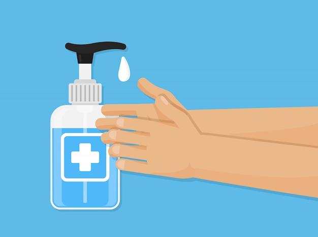 Ilustracja żel do mycia rąk. dezynfekcja pielęgnacja botle. ręka sanitarna