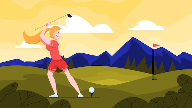 Ilustracja żeński gracz w golfa na zielonym polu. kobieta trzyma kij golfowy i uderza piłkę. zdrowy styl życia na świeżym powietrzu. ilustracja