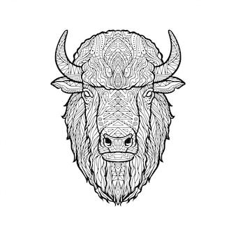 Ilustracja zentangle głowy żubra