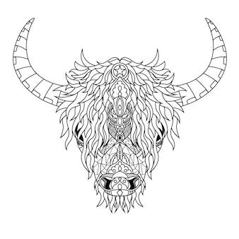 Ilustracja zentangle highland cow mandala w stylu liniowym