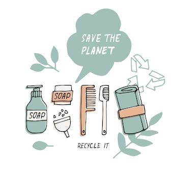 Ilustracja zero odpadów, recykling, ekologiczne narzędzia, zbiór ikon ekologii z hasłami. pakiet etykiet. wycena dotycząca ochrony środowiska