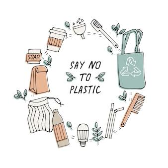 Ilustracja zero odpadów, recykling, ekologiczne narzędzia, zbiór ikon ekologii z hasłami.