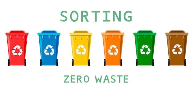 Ilustracja zero sortowaniavector odpadów