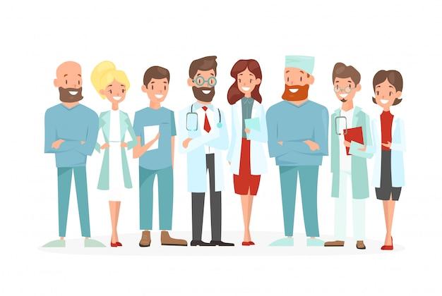 Ilustracja zespołu lekarzy. szczęśliwi i uśmiechają się medycznych pracowników na białym tle.