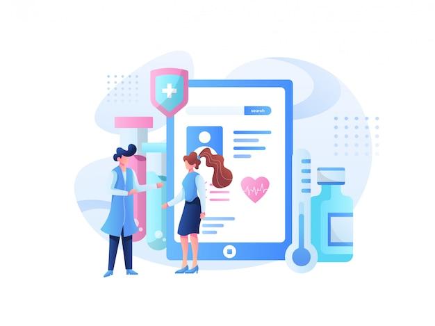 Ilustracja zespołu medycznego i konsultacja zdrowotna