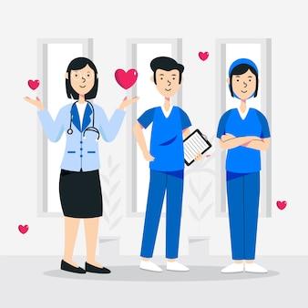Ilustracja zespołu pracowników służby zdrowia