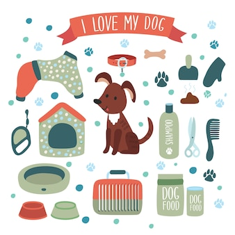 Ilustracja zestaw akcesoriów dla psa