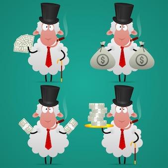 Ilustracja, zestaw bankiera owiec w różnych pozach, format eps 10