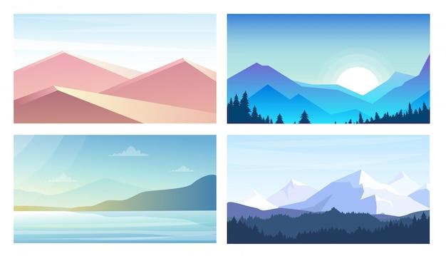 Ilustracja zestaw bannerów z krajobrazami, widokiem na góry, pustynię, wybrzeże w stylu płaskich i pastelowych kolorach.