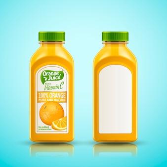Ilustracja zestaw butelek soku pomarańczowego
