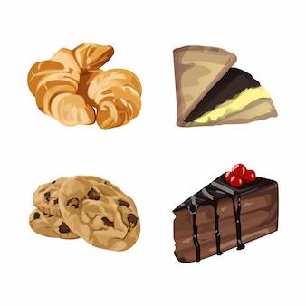 Ilustracja zestaw ciasta