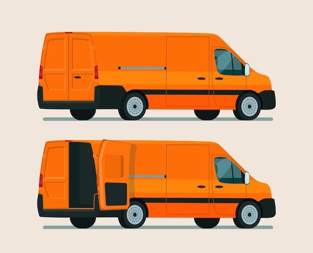 Ilustracja zestaw dwóch kątów furgonetki